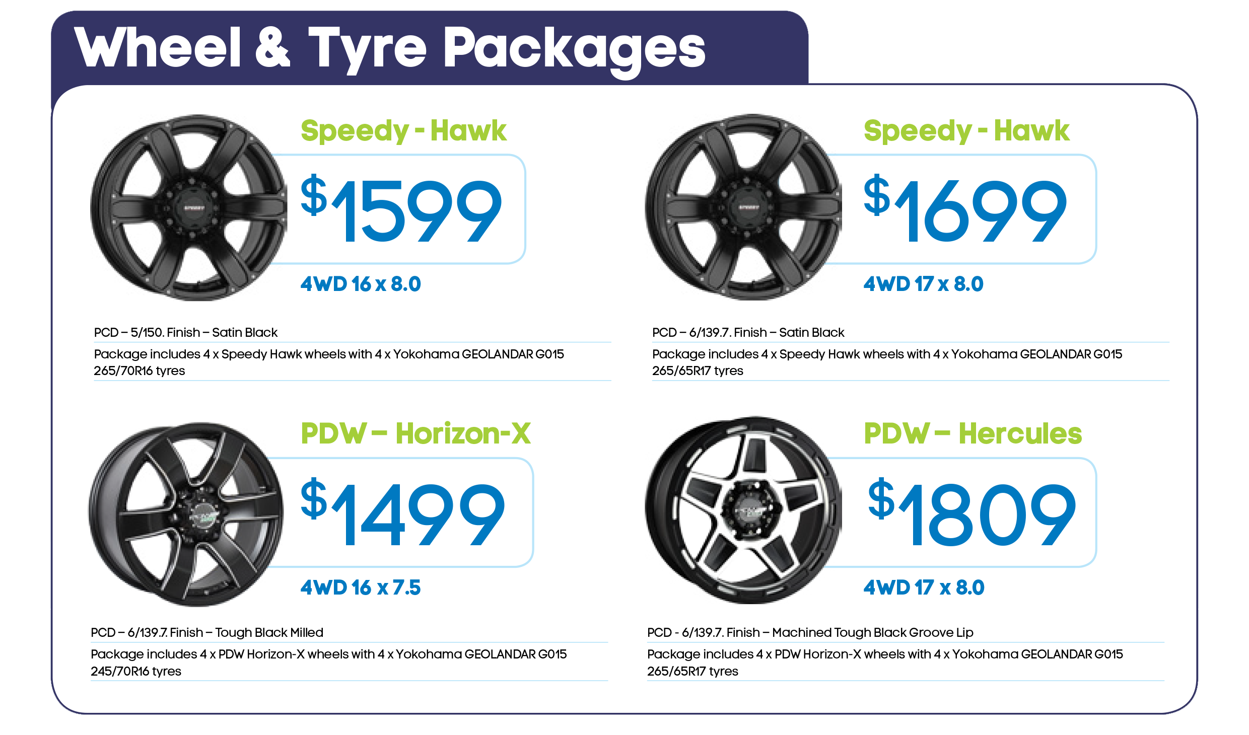 Alloy Wheel & Tyre Packages July 2017