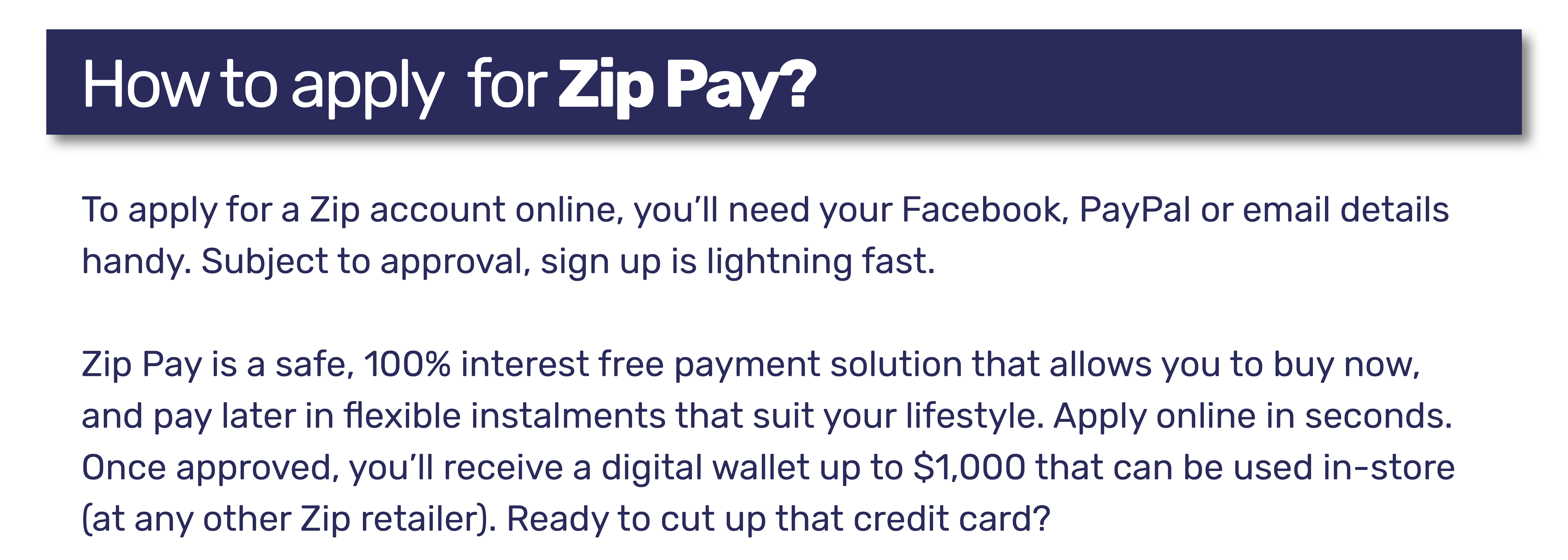 How to apply for Zip Pay