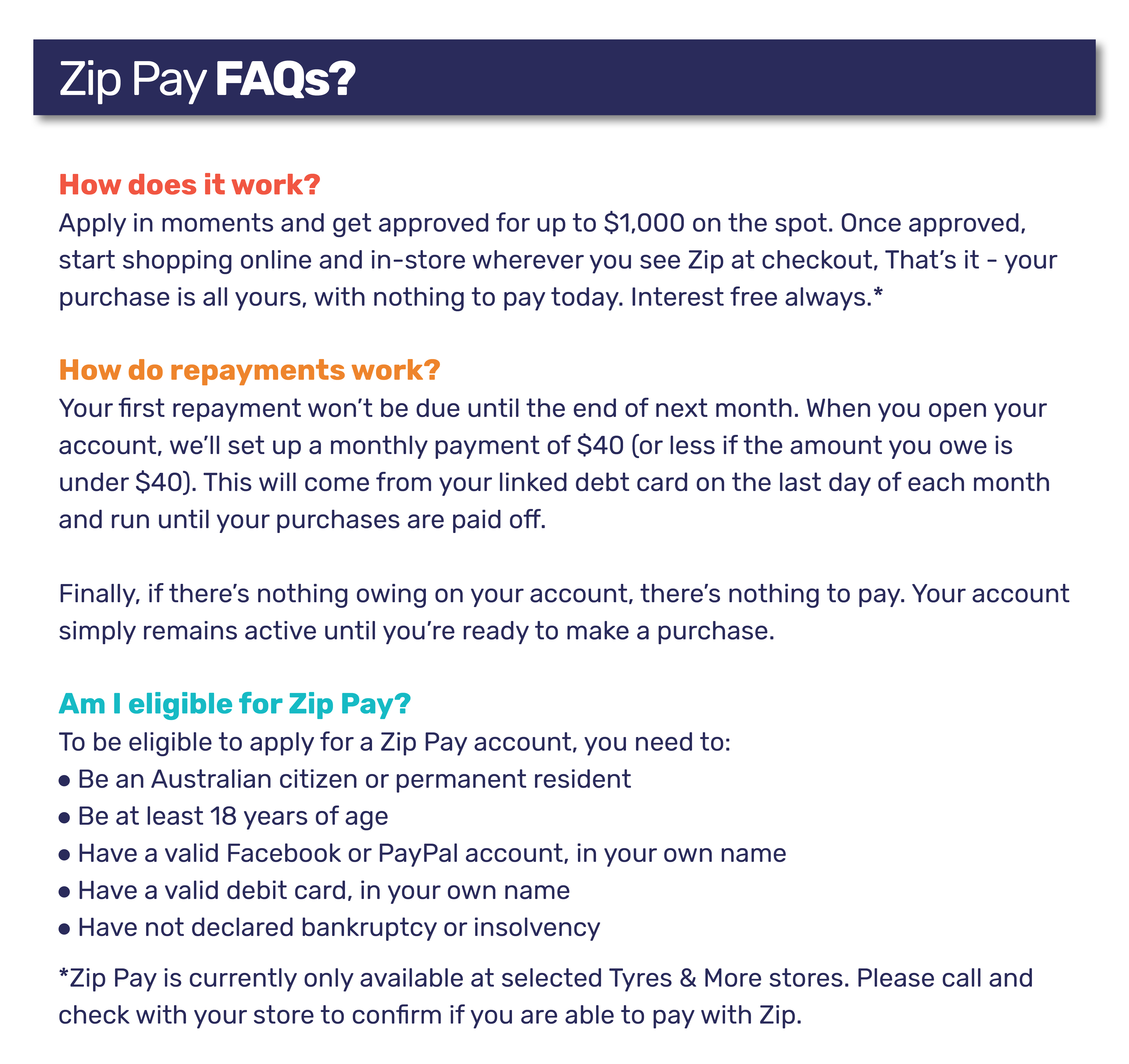 Zip Pay FAQs